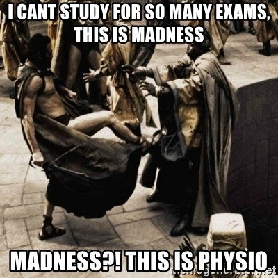 sparta kick - I cant study for so many exams, this is madness Madness?! this is physio