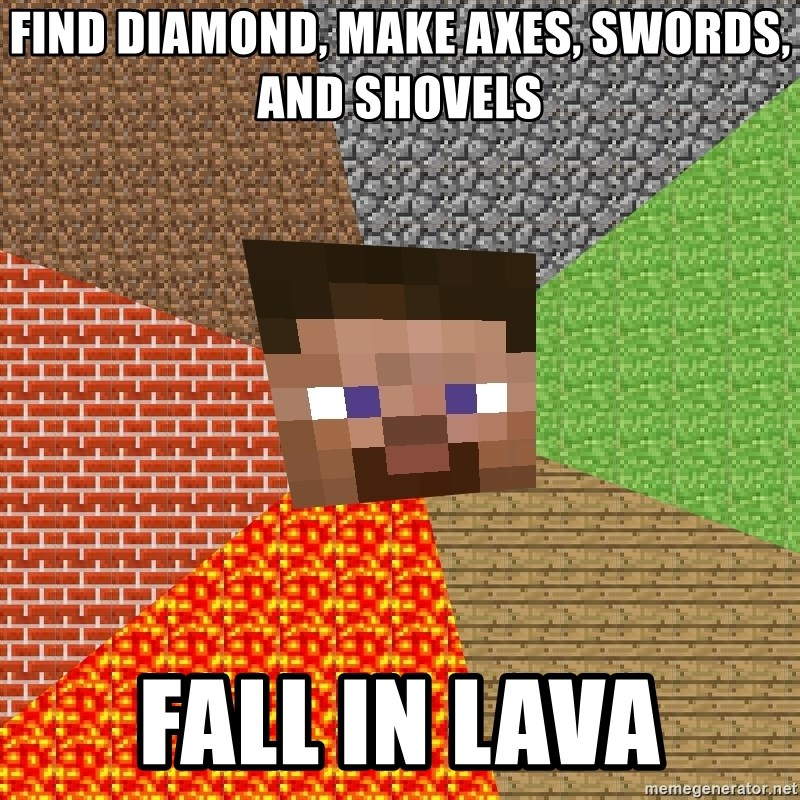 Minecraft Guy - find diamond, make axes, swords, and shovels fall in lava