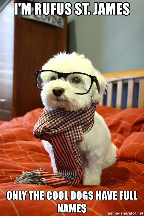 hipster dog - I'm rufus st. james only the cool dogs have full names