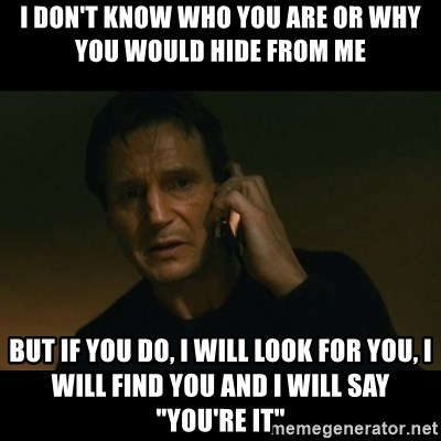 """liam neeson taken - I DON'T KNOW WHO YOU ARE OR WHY YOU WOULD HIDE FROM ME BUT IF YOU DO, I WILL LOOK FOR YOU, I WILL FIND YOU AND I WILL SAY """"YOU'RE IT"""""""