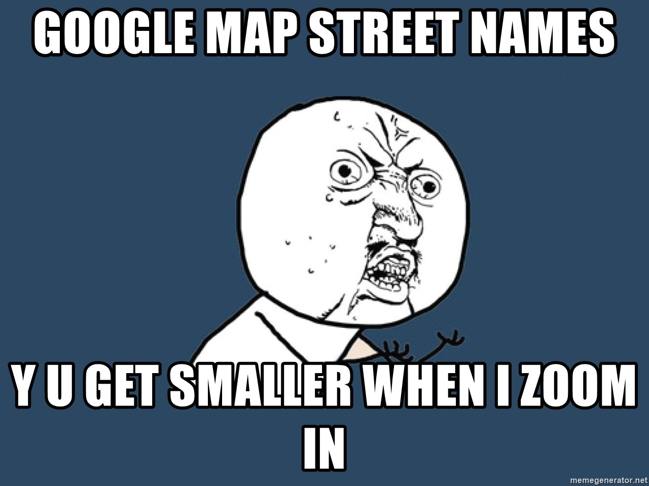 Y U No - google map street names y u get smaller when i zoom in