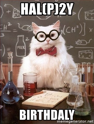 Chemist cat - HAl(p)2Y Birthdaly