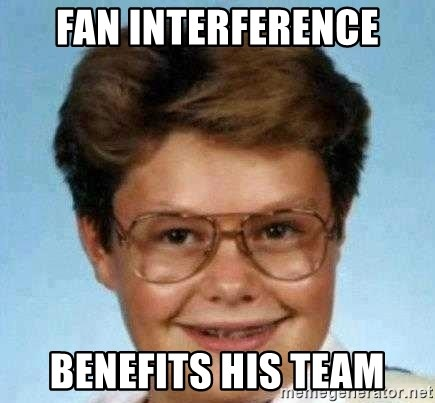 good luck larry hd - fan interference benefits his team