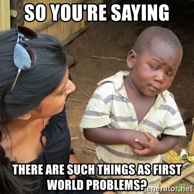 Skeptical 3rd World Kid - so you're saying there are such things as first world problems?