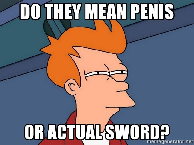 Futurama Fry - do they mean penis or actual sword?