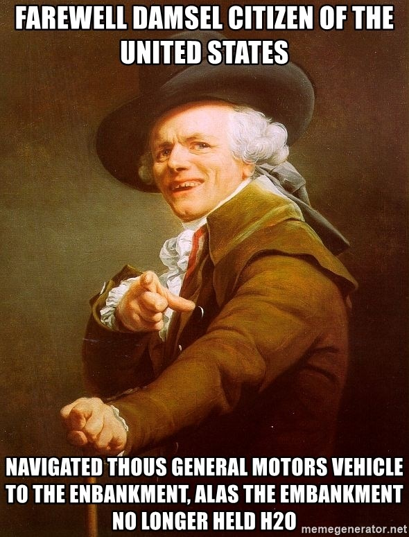 Joseph Ducreux - Farewell Damsel citizen of the United States navigated thous general motors vehicle to the enbankment, alas the embankment no longer held h2o