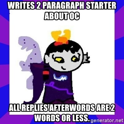writes 2 paragraph starter about oc all replies afterwords