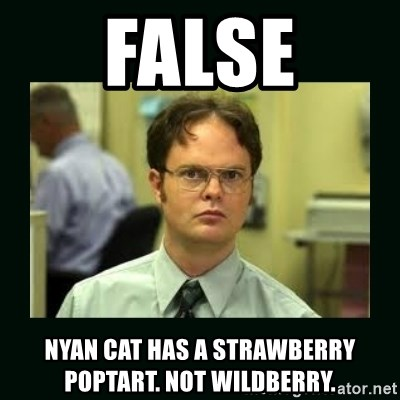 Schrute facts - False Nyan cat has a strawberry pOptart. Not wIldberry.
