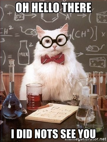 Chemist cat - Oh hello There I did nots see you