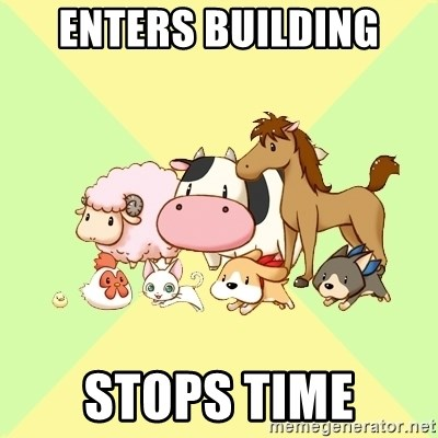 Harvest Moon - enters building stops time