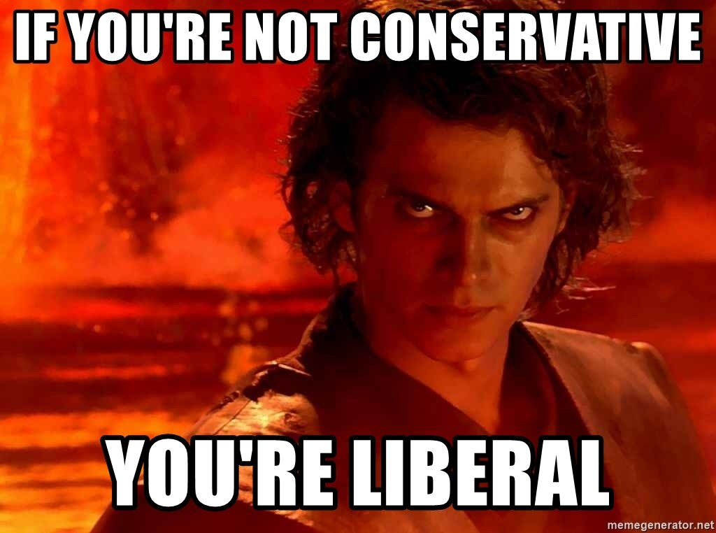 Anakin Skywalker - If you're not conservative you're liberal