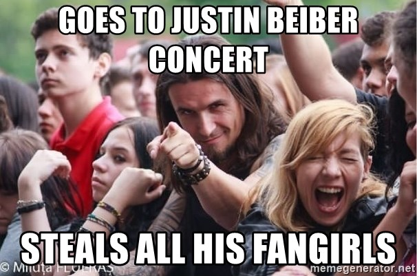 Ridiculously Photogenic Metalhead Guy - Goes to Justin Beiber Concert Steals all his fangirls