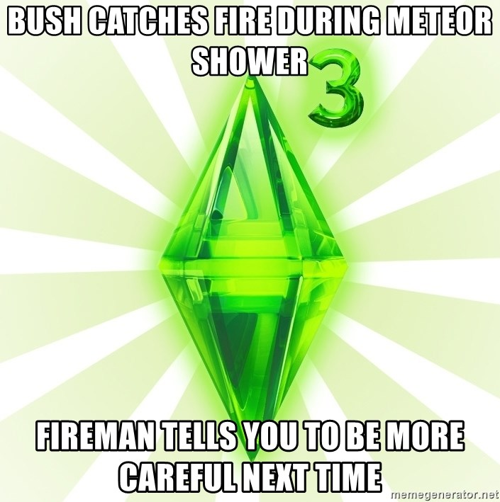 Sims - bush catches fire during meteor shower fireman tells you to be more careful next time