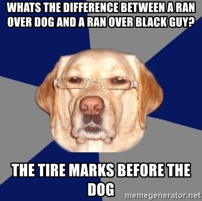 Racist Dawg - Whats the difference between a ran over dog and a ran over black guy? The tire marks before the dog