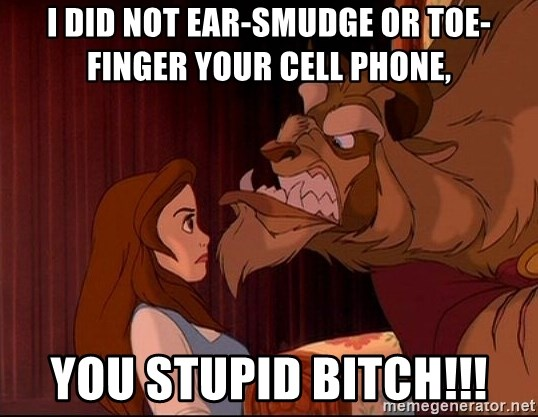 BeastGuy - I did NOT ear-smudge or toe-finger your cell phone, you stupid BITCH!!!