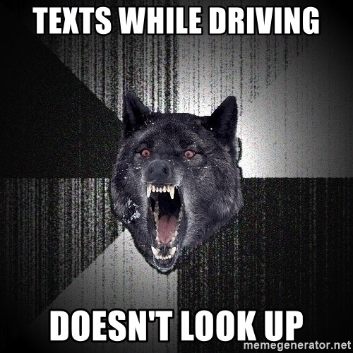 Insanity Wolf - texts while driving doesn't look up