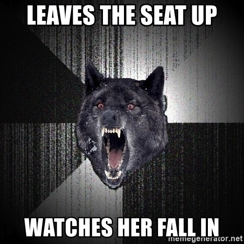 Insanity Wolf - leaves the seat up watches her fall in