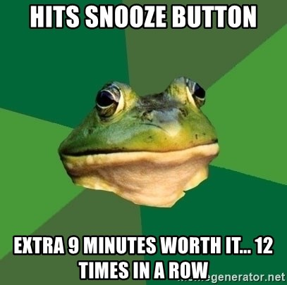 Foul Bachelor Frog - Hits Snooze button Extra 9 minutes worth it... 12 times in a row
