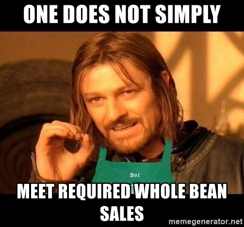 Barista Boromir - one does not simply meet required whole bean sales
