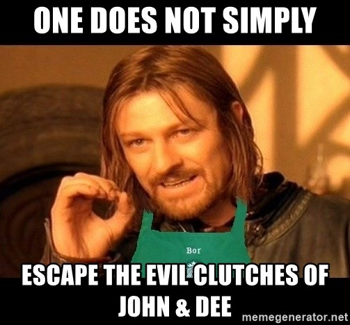 Barista Boromir - one does not simply escape the evil clutches of john & dee
