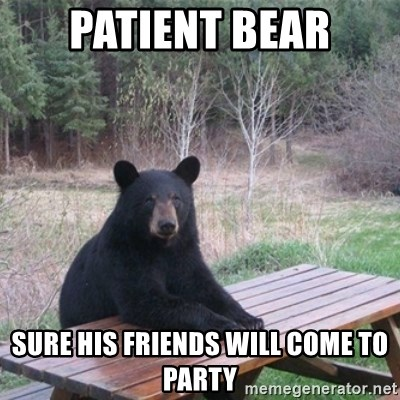 Patient Bear - patient bear sure his friends will come to party