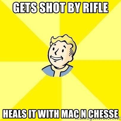 Fallout 3 - GETS SHOT BY RIFLE HEALS IT WITH MAC n chesse