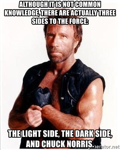 Chuck Norris  - Although it is not common knowledge, there are actually three sides to the Force:  the light side, the dark side, and Chuck Norris.