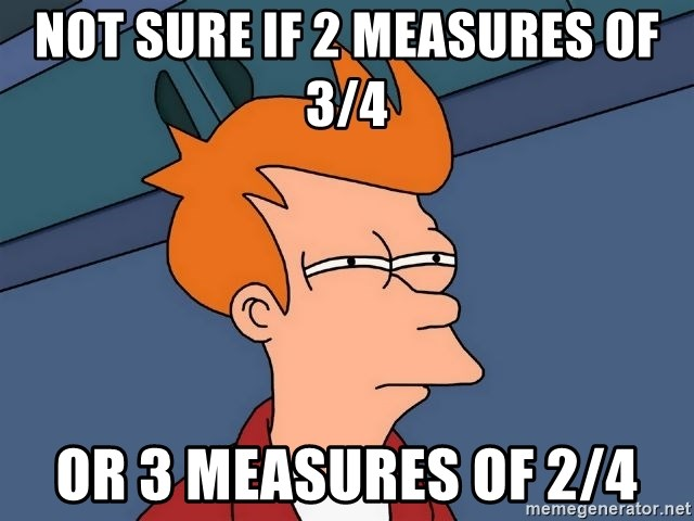 Futurama Fry - Not sure if 2 measures of 3/4 or 3 measures of 2/4