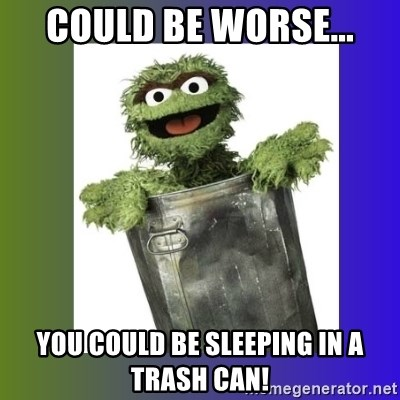 Oscar the Grouch - Could be worse... You could be sleeping in a trash can!