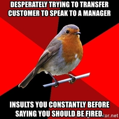 Retail Robin - dESPERATELY TRYING TO TRANSFER cUSTOMER TO SPEAK TO A MANAGER INSULTS YOU CONSTANTLY BEFORE SAYING YOU SHOULD BE FIRED.