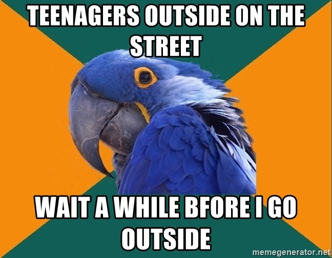 Paranoid Parrot - Teenagers outside on the street Wait a while bfore I go outside