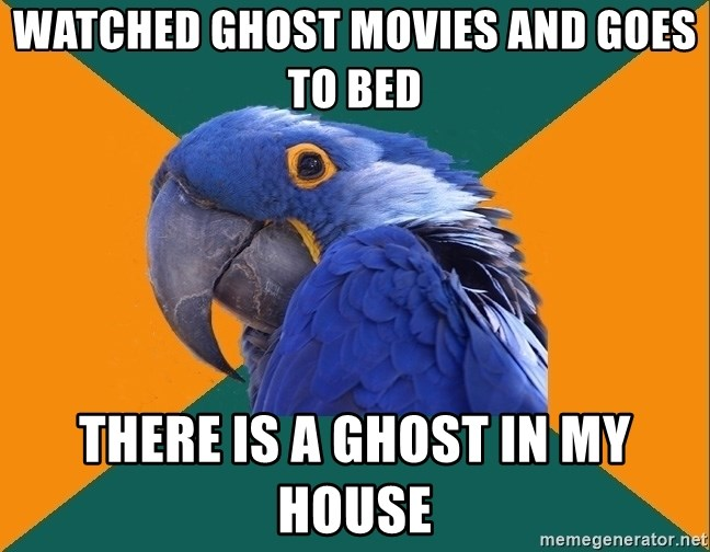 Paranoid Parrot - Watched ghost movies and goes to bed there is a ghost in my house