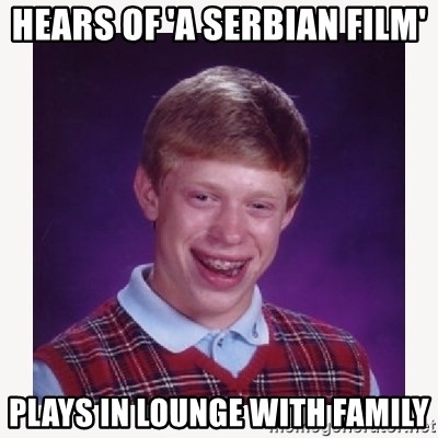 nerdy kid lolz - hears of 'a serbian film' plays in lounge with family