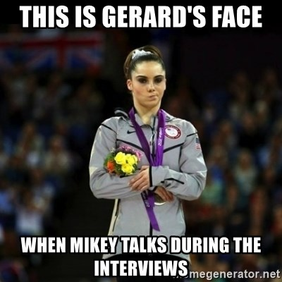 Unimpressed McKayla Maroney - this is gerard's face when mikey talks during the interviews