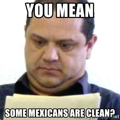 dubious history teacher - you mean some mexicans are clean?