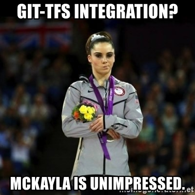 Unimpressed McKayla Maroney - GIT-TFS Integration? Mckayla is unimpressed.