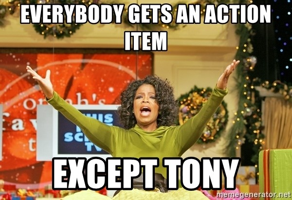 Oprah Gives Away Stuff - EVERYBODY GETS AN ACTION ITEM EXCEPT TONY