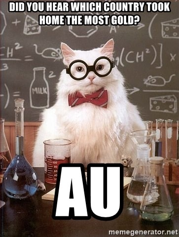 Chemistry Cat - did you hear which country took home the most gold? AU