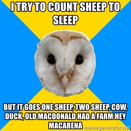 25090274 i try to count sheep to sleep but it goes one sheep, two sheep, cow