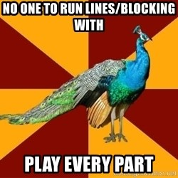 Thespian Peacock - no one to run lines/blocking with  Play every part