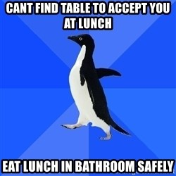 Socially Awkward Penguin - Cant find table to accept you at lunch eat lunch in bathroom safely