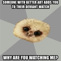 deviantArt Owl - Someone with better art adds you to their deviant watch WHY are you Watching me?