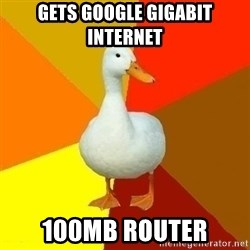 Technologically Impaired Duck - Gets google gigabit internet 100mb router
