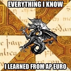 History Major Heraldic Beast - Everything I Know I Learned from ap euro