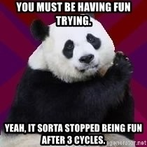Infertile Panda - You must be having fun trying. Yeah, it sorta stopped being fun after 3 cycles.
