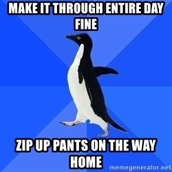 Socially Awkward Penguin - Make it through entire day fine Zip up pants on the way home