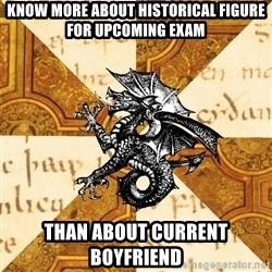 History Major Heraldic Beast - Know more about historical figure for upcoming exam Than about current boyfriend