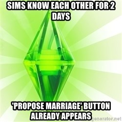 Sims - SIMS KNOW EACH OTHER FOR 2 DAYs 'propose marriage' BUTTON ALREADY APPEARS