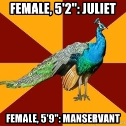 "Thespian Peacock - female, 5'2"": Juliet female, 5'9"": manservant"