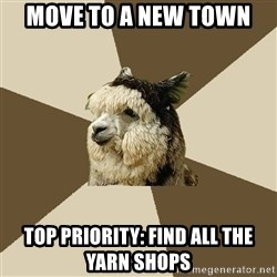 Fyeahknittingalpaca - Move to a new town top priority: find all the yarn shops